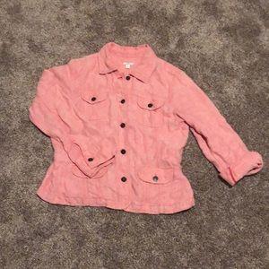 100% Linen J Jill salmon colored jacket